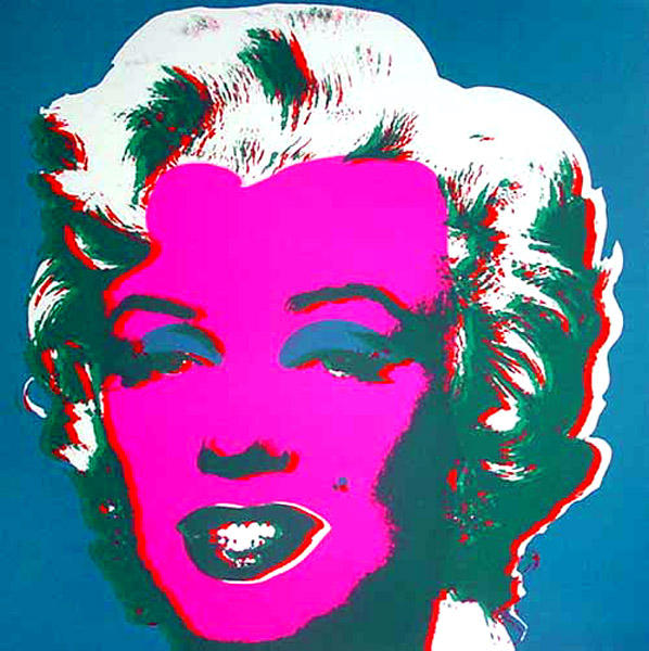 famous painting Marilyn Blue of Andy Warhol