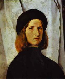 Lorenzo Lotto - Portrait of a Young Man against a White Curtain