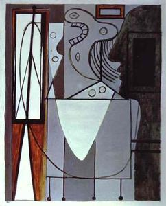 Pablo Picasso - Silhoutte of Piccasso and Young Girl Crying