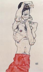 Egon Schiele - standing male nude with red loincloth 1914