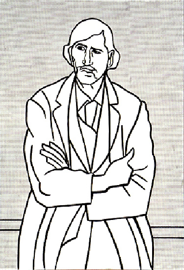 famous painting Manwithfoldedarms(cezanne) of Roy Lichtenstein