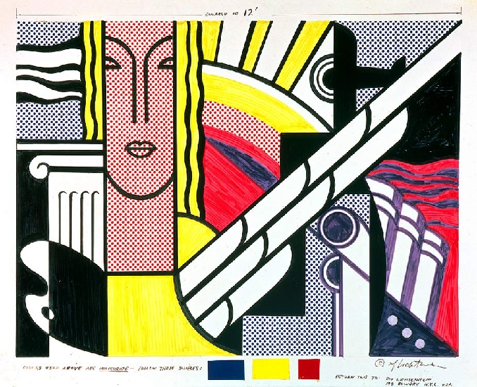 famous painting Modern Tapestry Cartoon of Roy Lichtenstein