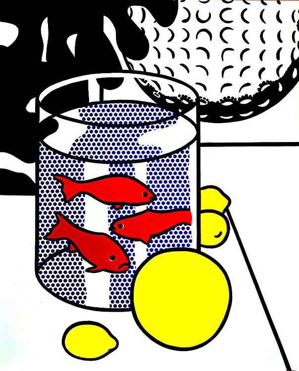 famous painting Still Life with Goldfish (and Painting of Golf Ball) of Roy Lichtenstein