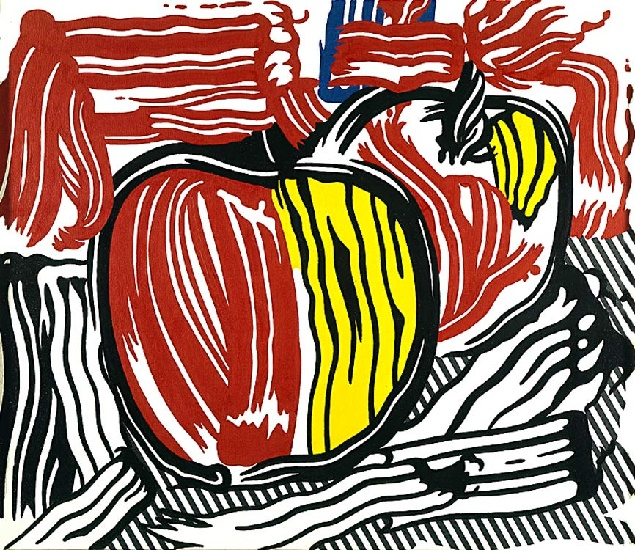 famous painting 2 red and yellow apples of Roy Lichtenstein