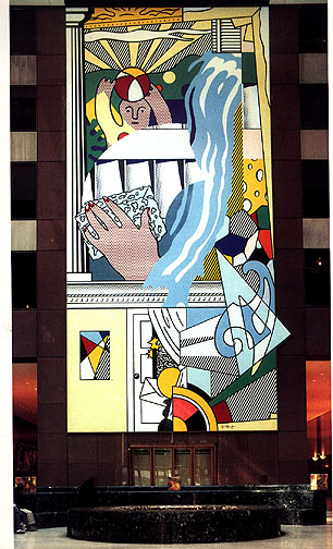 famous painting Mural with blue brushstroke of Roy Lichtenstein