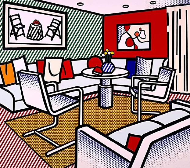 famous painting Interior with Red Wall of Roy Lichtenstein
