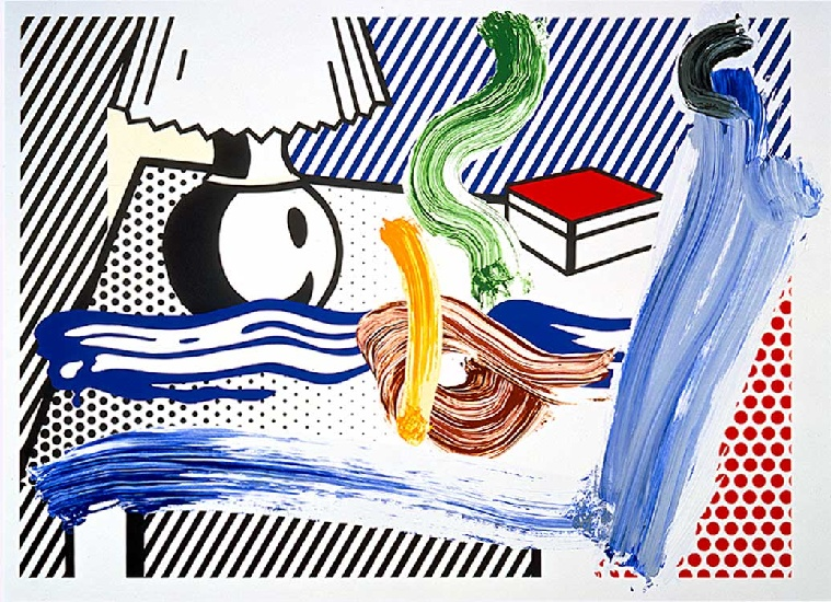 famous painting Brushstroke Still Life with Lamp of Roy Lichtenstein