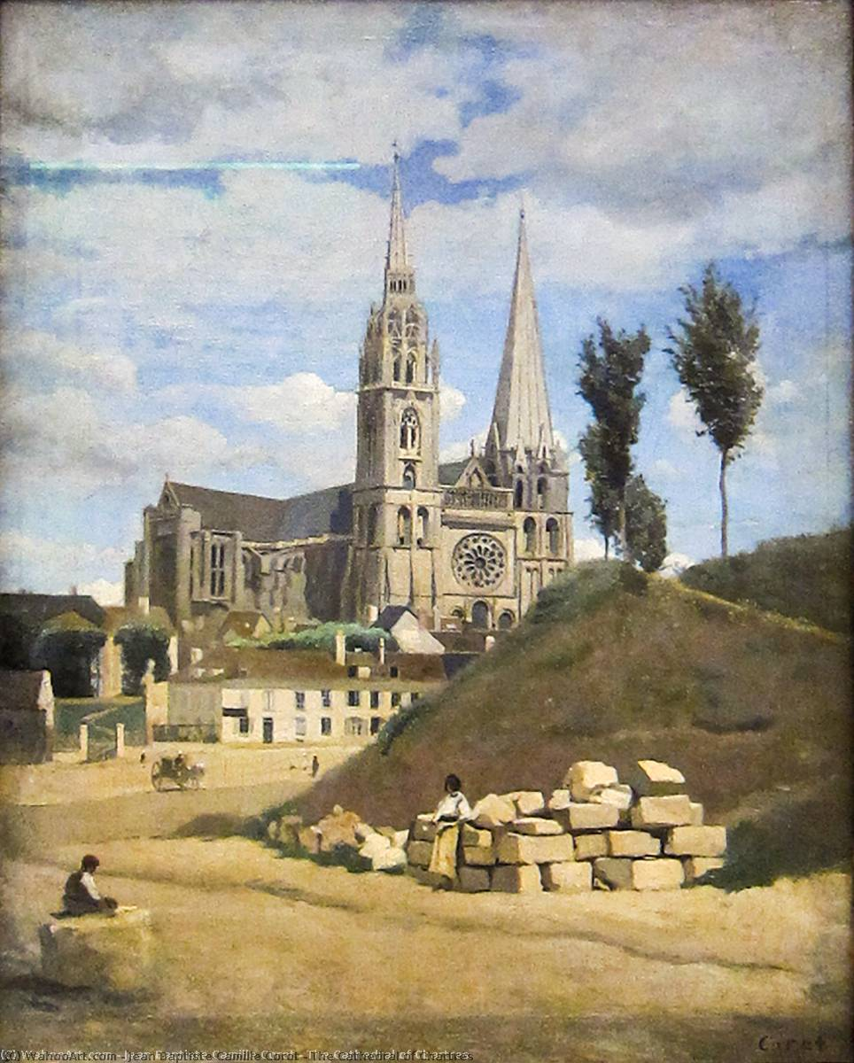 famous painting The Cathedral of Chartres of Jean Baptiste Camille Corot
