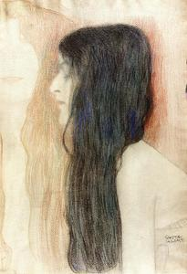 Gustav Klimt - Girl with Long Hair, with a sketch for 'Nude Veritas'