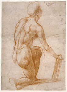 Andrea Del Sarto - a Kneeling Figure with a Sketch of a Face (Study)