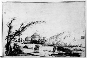 Guercino (Barbieri, Giovanni Francesco) - Landscape with Figures and a Tent