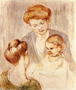 Mary Stevenson Cassatt - A Baby Smiling at Two Young Women