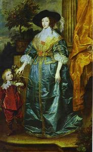Anthony Van Dyck - Queen Henrietta Maria with Sir Jeffrey Hudson