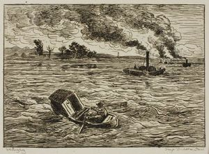 Charles François Daubigny - The Steamboats (Steamy Harbor)