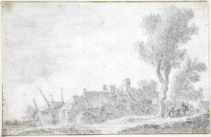 Jan Van Goyen - A group of farm-buildings with tall tree at the right