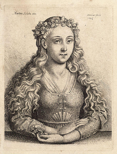 famous painting Woman with a wreath of oak leaves, after Schongauer. State 1 of Martin Schongauer
