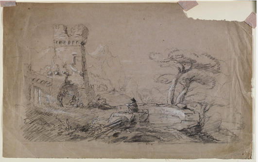 famous painting Landscape with Ruins and Man Sketching of Thomas Cole