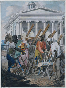 John Lewis Krimmel - Black Sawyers Working in front of the Bank of Pennsylvania, Philadelphia