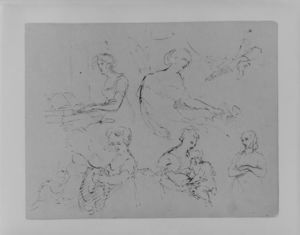 Thomas Sully - Five Half-Length Female Figures, One at a Spinet