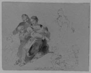 Thomas Sully - Holy Family et al.; Turning Female Figure, Half Length; Woman Seated at Window