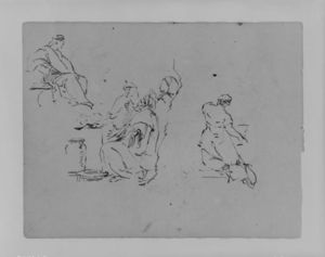 Thomas Sully - Seated Figure, Three Men in Group, Kneeling Woman from Rear, Kneeling Woman from Rear