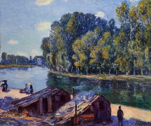 Alfred Sisley - Cabins along the Loing Canal, Sunlight Effect