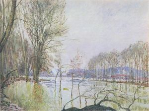 Alfred Sisley - The Banks of the Seine in Autumn flood