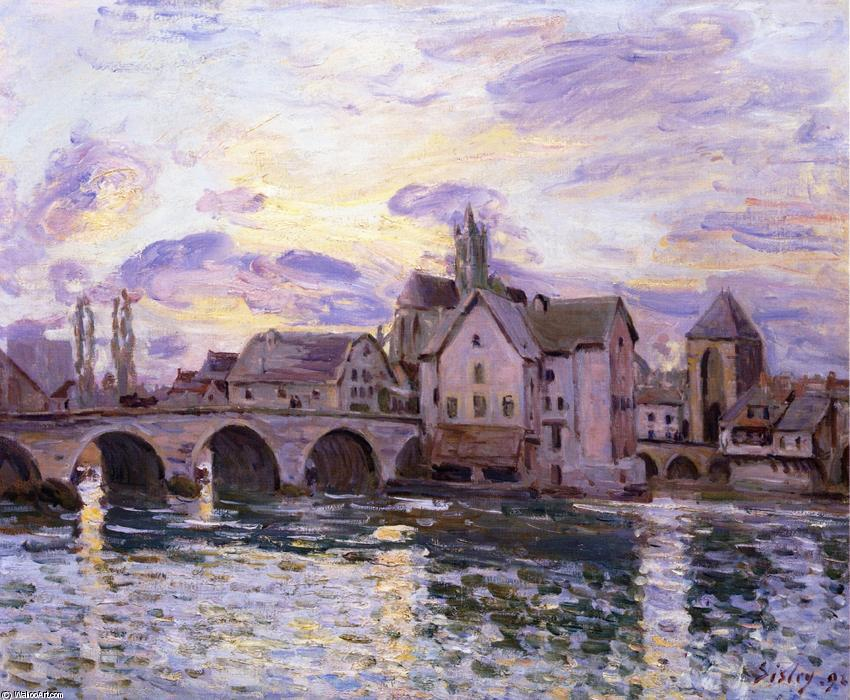 famous painting The Bridge at Moret at Sunset of Alfred Sisley