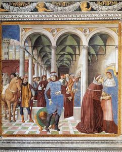 Benozzo Gozzoli - Arrival of St Augustine in Milan (scene 8, north wall)