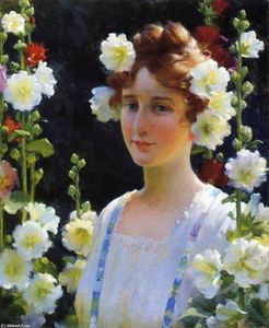 Charles Courtney Curran - Among The Hollyhocks