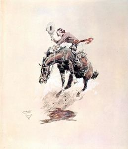 Charles Marion Russell - Bucking Horse and Cowgirl
