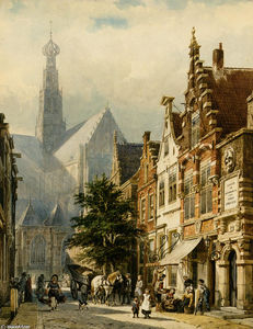 Cornelis Springer - Many figures in the streets of Haarlem