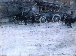 Everett Shinn - Horsedrawn Bus