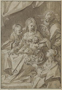 Hans Von Aachen - The Holy Family with Saint Dorothea offering fruit to the Christ child