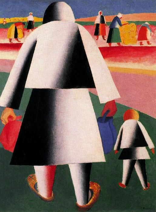 famous painting Going to the Harvest. Marfa and Vanka of Kazimir Severinovich Malevich
