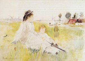 Berthe Morisot - Girl and Child on the Grass