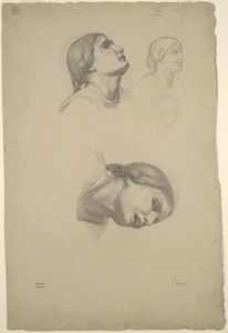 Edgar Degas - Four Studies of the Head of a Young Italian Woman
