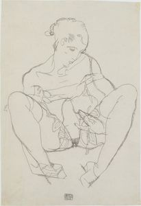 Egon Schiele - Seated Woman in Chemise
