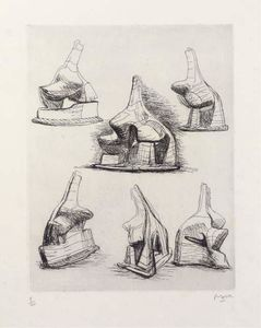 Henry Moore - Studies for Head and Shoulders Sculpture
