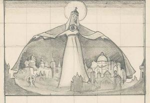 Nicholas Roerich - Composition sketch for ''Madonna Protectrix''