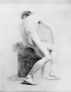Daniel Huntington - Seated Male Nude