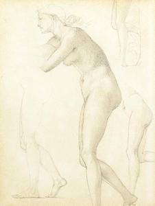 Edward Coley Burne-Jones - Study for the figure of Galatea in The Godhead Fires,