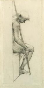 Edward Coley Burne-Jones - Study from the nude for a sleeping guard in 'The Council Chamber' in the Briar Rose series