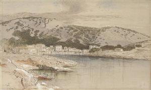 Edward Lear - View Of The Town And Harbour, Paxos, Greece