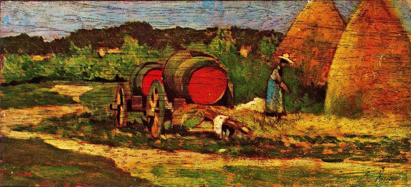 famous painting The red barrels of Giovanni Fattori