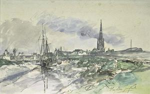 Johan Barthold Jongkind - View of the port of Harfleur at low tide, with the spire of the cathedral