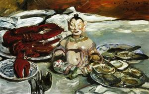 Lovis Corinth (Franz Heinrich Louis) - Still Life with Buddha, Lobsters and Oysters