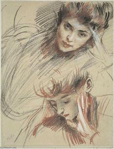 Paul Cesar Helleu - Study of Heads