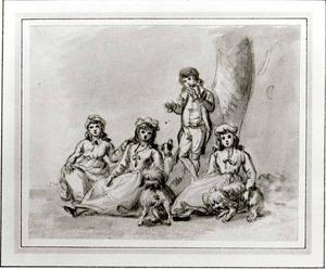 Paul Sandby - A Group of Four Children, with Dogs