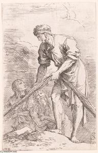 Salvator Rosa - Figurine. Man with Fishing Net and Two Other Figures